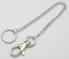 1 x Hipster Chain 340mm Swivel Clasp Belt Clip Split Ring Wallet Silver Strong