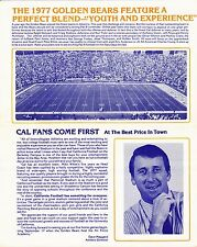 1977 CALIFORNIA BEARS NCAA FOOTBALL TICKET NEWSLETTER AND ORDER BLANK