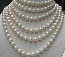 REAL PEARL BEAUTIFUL!LONG 100 INCHES 8-9MM WHITE NATURAL PEARL NECKLACE