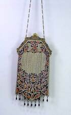 Antique Flapper Mandalian 9 Drops Lustro Enamel Mesh Purse Bag Enameled Frame