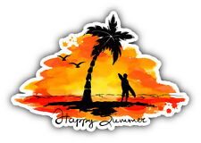 "Happy Summer Vacation Car Bumper Sticker Decal 5"" x 3"""