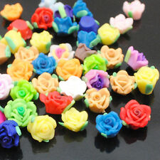 30pcs Mini Assorted Roses Flowers FIMO Polymer Clay Beads 10mm With Cross Hole
