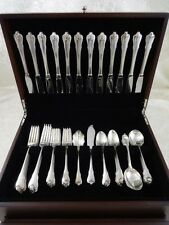 GRAND COLONIAL BY WALLACE STERLING SILVER FLATWARE SET FOR 12 SERVICE 62 PIECES