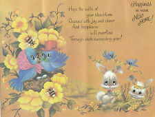 Cute Vintage 1970's Good Luck In Your New Home Greeting Card & Envelope :