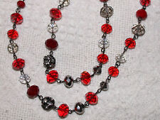 "Women's Strand necklace: Red & Clear Crystals, hematite beads - 44"" - nwt"