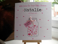 Beautiful Handmade Personalised Baby Shower Card Mum To Be Girl Boy Pink Blue