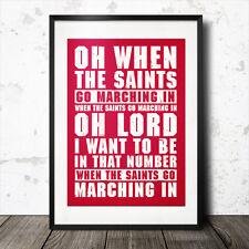 Southampton fútbol cartel letras de canciones cuando los Santos van marchando en