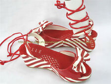 40% OFF! AUTH ELLE RED STRIPES WEDGE SANDALS SHOES SIZE 33 9-10 YO BNWT