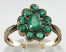 STUNNING 9Ct 9K YELLOW GOLD VICTORIAN INS ALL EMERALD CLUSTER RING