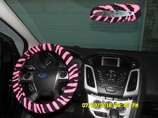 NEW STEERING WHEEL AND REAR VIEW MIRROR COVER ZEBRA  PRINT PINK BLACK STRIPES