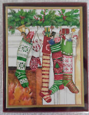 Box of 16 Very Cutie Stockings by the Fire Place Christmas Cards ~NIB~ (1403)