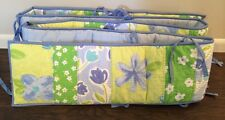 Pottery Barn Kids Baby Crib Bumper Painted Posies Blue Green Reversible