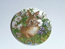 Cute Brown Bunny Rabbit In Flowers on MOP Mother of Pearl Shank Button 1+3/8""