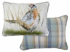 REVERSIBLE PHEASANT FILLED TARTAN EVANS LICHFIELD DUCK EGG BLUE CUSHION 43X33CM