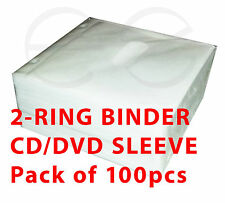 2 CD/DVD Ring Binder sleeves **Each sleeve holds 2 discs** 100 sleeve Pack