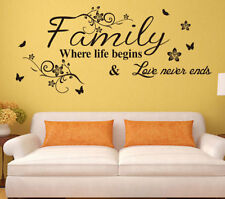 Family Quote Life Love Wall Sticker Mural Art Vinyl Home Room Decal Decor DIY