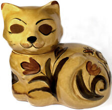 1960's Los Angeles Potteries Autumn Gold Calico Cat Pattern Covered Cookie Jar