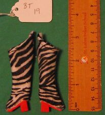 Zebra Print Felt Boots with Red Heels & Soles for Regular Barbie Doll BT19