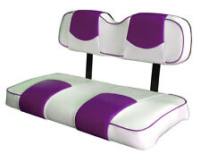 EZ-GO TXT Golf Cart Deluxe™ Vinyl Seat Covers-Staple On(Wht/Wild Orch Top-PPng)