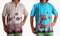 LOUD HAWAIIAN SHIRT BLUE WHITE TROPICAL FISH, STAG NIGHT SUMMER HOLIDAY PARTY