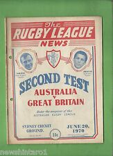 #QQ. THE RUGBY LEAGUE NEWS, 20th June 1970, Australia vs Great Britain Cover