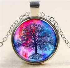 Vintage Lucky Tree Rose Cabochon Tibetan silver Glass Chain Pendant Necklace W92