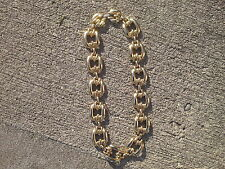 Vintage Choker Couture Chain link Gold tone Bib necklace Chunky polished 1980s