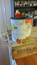Vintage Colourful Rotary Flour Sifter / Dredger – Orange & Yellow Flowers –