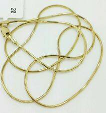 "14k Solid Yellow Gold High Polish Snake Necklace Chain 18"" .8mm"