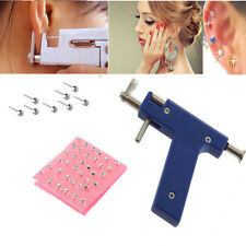 Professional Ear Nose Navel Body PIERCING GUN Tool Kit set jewelry 72X Studs OR