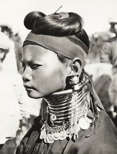1934 Vintage 11x14 ~ ASIA ~ Myanmar Native Padaung Tribe Girl Jewelry Photo Art