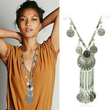 Vintage Silver Boho Tribal Coin Pendant Fringe Gypsy Bib Statement Necklace