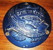 HARLEY DAVIDSON BLUE METAL DISC COVER BORN TO RIDE, RIDE TO LIVE,  EAGLE IRON