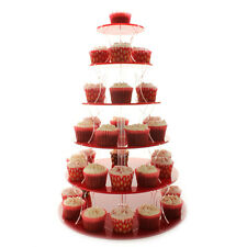Red 6 Tier Cupcake Stand Wedding Cake Display Stand Acrylic Plastic