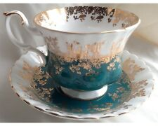 Fancy Royal Albert Teal Heavy Gold Overlay Regal Series Cup and Saucer