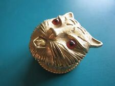 "RARE! 1"" MAD CAT FLORENZA PILL TRINKET BOX golden metal solid perfume vintage"