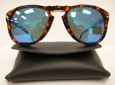 PERSOL 714 SUNGLASSES Polarized BLUE Steve McQueen DARK HAVANA Size 54 Large