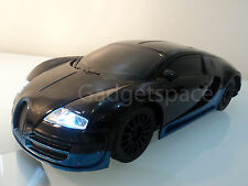 Bugatti Veyron Radio Remote Control Car Rc Car 1/18 Black & Blue Stripe XMAS