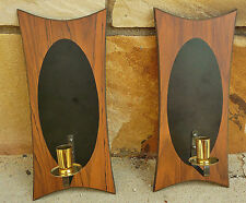 Vintage 50s 60s Mid Century Modern Atomic Black Wood Wall Candle Pair of Sconces