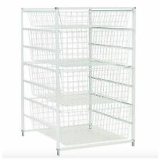 Metal Wire Closet Clothing Clothes Organizer Storage Rack Basket Shelves Drawers