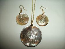 NATURAL ABALONE MOP SHELL GOLD FOIL TURTLE PENDANT EARRING SET NECKLACE 50mm *