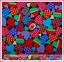 BonEful Fabric FQ Cotton Quilt Rainbow Red Pink Sm Valentine Candy Heart Gingham