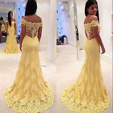 Yellow Lace Evening Dresses Mermaid Cocktail Bridesmaid Dress Prom Party Gown