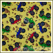 BonEful Fabric FQ Cotton Quilt Yellow Blue Boy Baby Monster Truck Jeep Tire Star