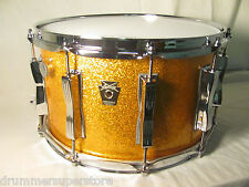 Ludwig Classic Maple Supraphonic Snare Drum Gold Sparkle Twin Mach Lugs 8x14""
