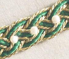 4 Yards. Green & Gold. Hand-Beaded, Renaissance, Woven Trim. Celtic Knot