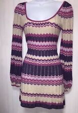 BEBE WOMENS LONG SLEEVE PINK PURPLE IVORY SHIMMER ALL OCCASION DRESS SIZE XS
