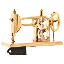 24k Gold Plated Sewing Machine Ornament Made with Genuine Matashi Crystals