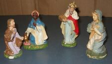 VINTAGE VARIOUS 4 PIECES NATIVITY ITALY HARD PLASTIC WISE MEN & MARY