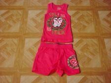 Faded Glory Girls Hot Pink/Gold Owl I Do Is Rock Short Set Size 4-5 XS